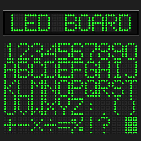 led display: Green LED digital font display on black background