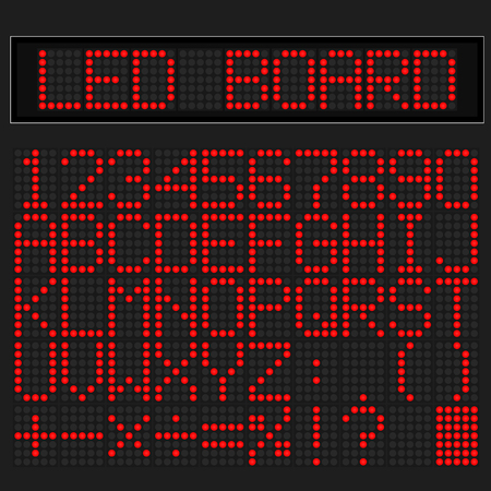 led: Red LED digital font display on black background
