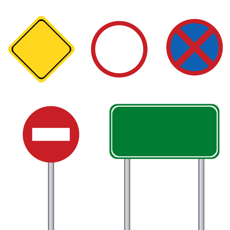 blank road sign: Blank road sign with pole on white background Illustration