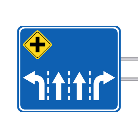 conjunction: Blank arrow sign for intersection with pole on white background