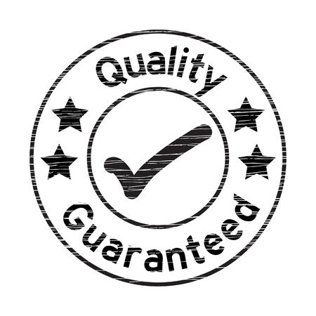 Negro sello de garantía de calidad grunged en el fondo blanco