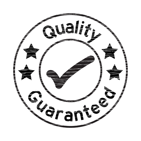 Black grunged quality guarantee stamp on white background