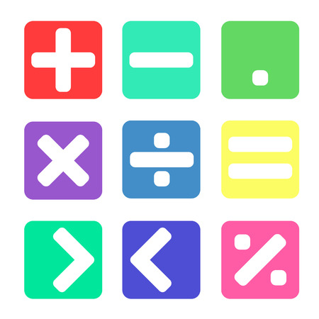 Math symbol with pastel color on white background Illustration