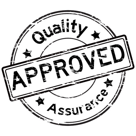 grunged: Black grunged approve and quality assurance stamp on white background