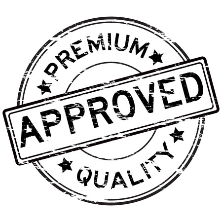 grunged: Black grunged approve and premium quality stamp on white background