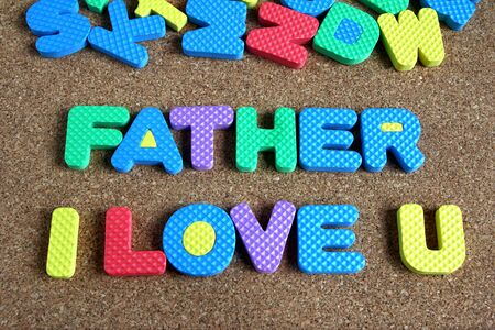 i love u: Father I love u wording on cork board