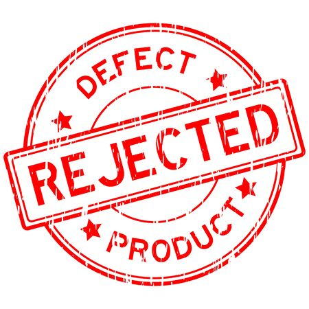 reject: Red grunged reject and defect product stamp on white background