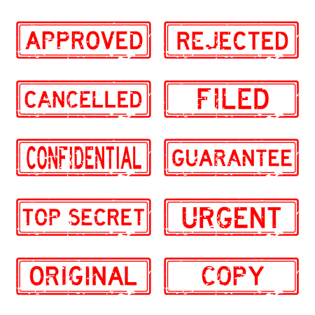 grunged: Grunged stamp set (red color)