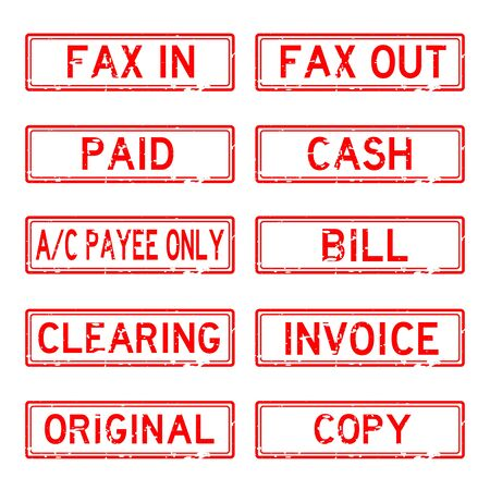 payee: Grunged stamp set (Red color) Illustration
