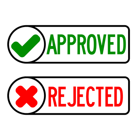 approve icon: Approve and reject icon on white background Illustration