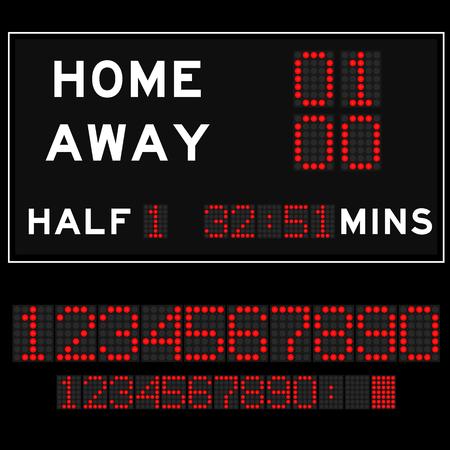 scoreboard timer: Scoreboard with redLED digital font display on black background
