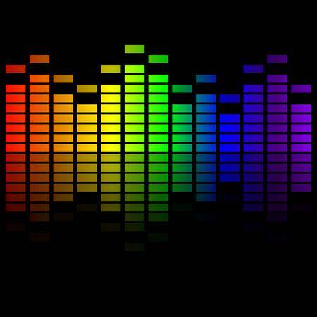 rainbow music: Rainbow music equalizer on black background