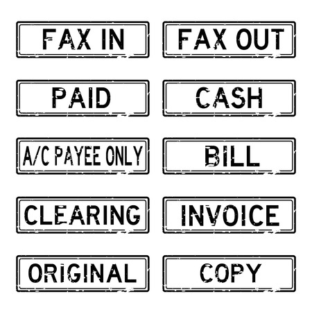 payee: Grunged stamp set (Black color)