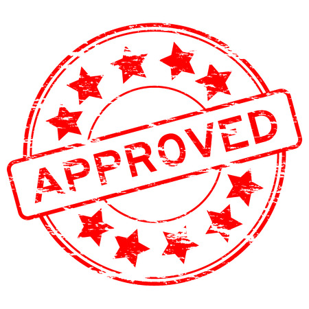 approve: Grunged approve stamp (Red)