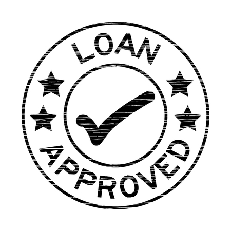 grunged: Black grunged loan approve stamp