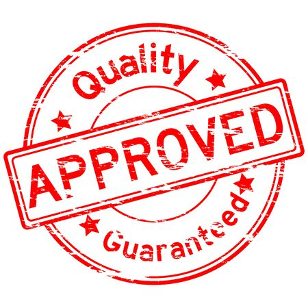 assure: Grunged quality approve guarantee stamp (Red) Illustration