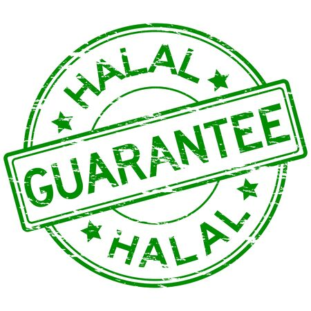 grunged: Green grunged guarantee and halal stamp placed on white background Illustration