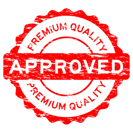 assure: Grunged red approved premium quality stamp