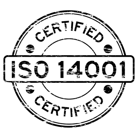 grunged: Grunged ISO14001 certified stamp (Black)