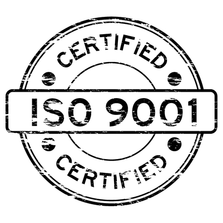 grunged: Grunged ISO9001 certified stamp (Black)