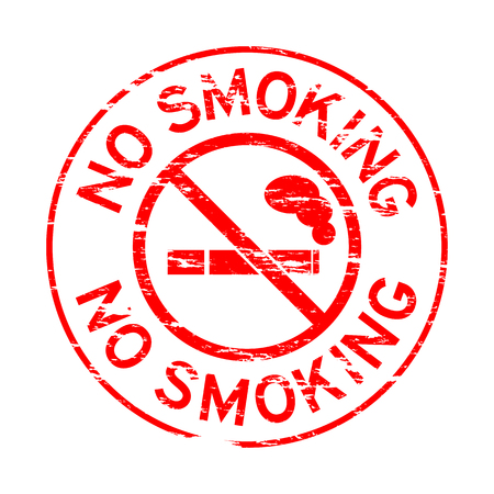 grunged: Grunged stamp of no smoking (Red)