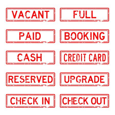 Grunge stamp set for Hotel (red color) Ilustração