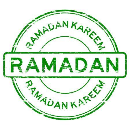 grunged: Green grunged ramadan kareem stamp