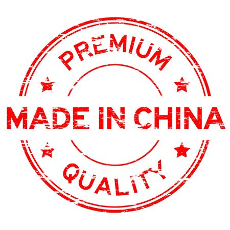made in china: Red grunged rubber stamp made in China