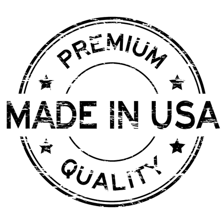 garment label: Black grunged rubber stamp made in USA