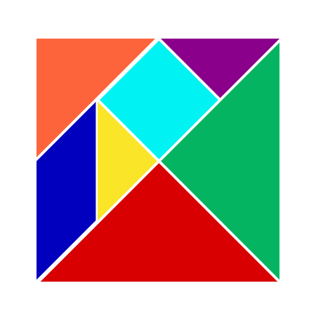 Colorful tangram on white background (Vector)  イラスト・ベクター素材