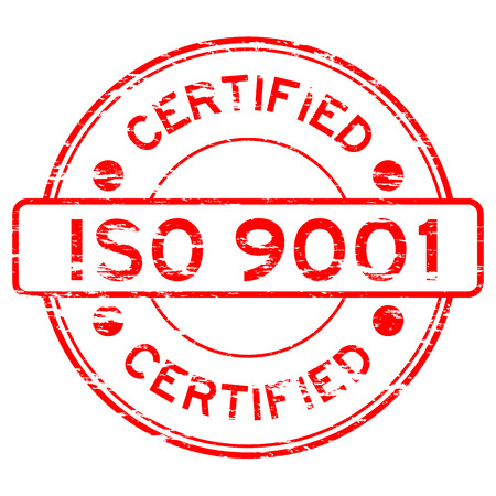 Grunged ISO9001 certified stamp (Red)
