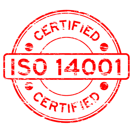 grunged: Grunged ISO14001 certified stamp (Red) Illustration