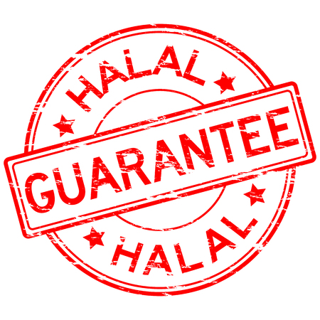 grunged: Red grunged guarantee and halal stamp placed on white background