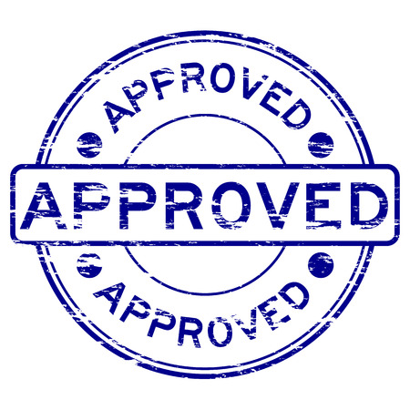 approve: Grunged approve stamp (Blue)