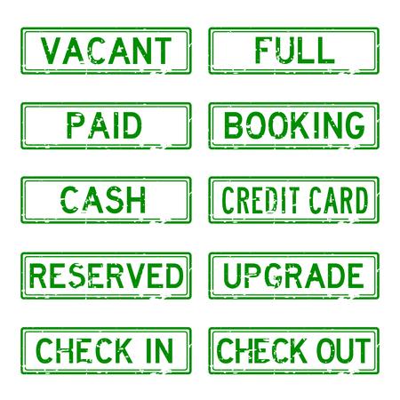 Grunge stamp set for Hotel (green color)
