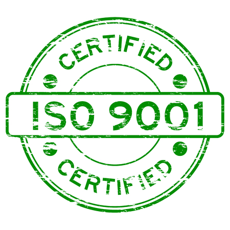 grunged: Grunged ISO9001 certified stamp (Green) Illustration