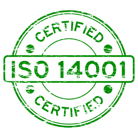 grunged: Grunged ISO14001 certified stamp (Green)