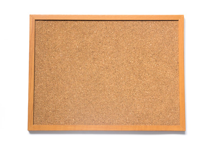 Corkboard placed on white background
