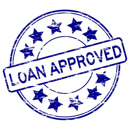 approve: Grunge blue loan approve stamp Illustration