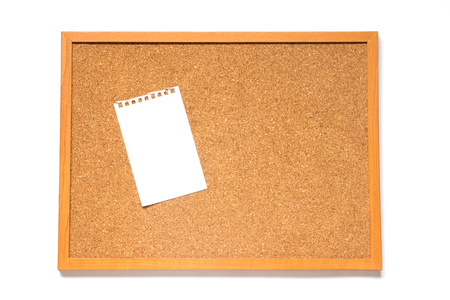 corkboard: Corkboard with paper placed on white background
