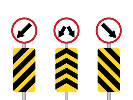 obligate: Yellow direction sign with white directioin sign set and pole Illustration