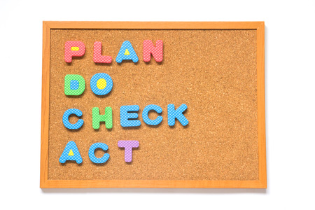 plan do check act: Corkboard with wording plan do check act placed on white background