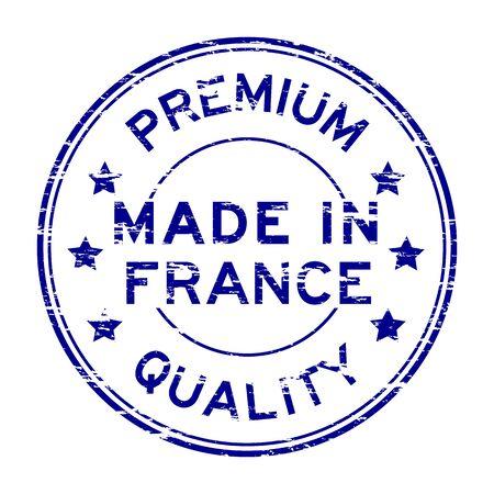 france stamp: Blue grunge premium quality made in France stamp
