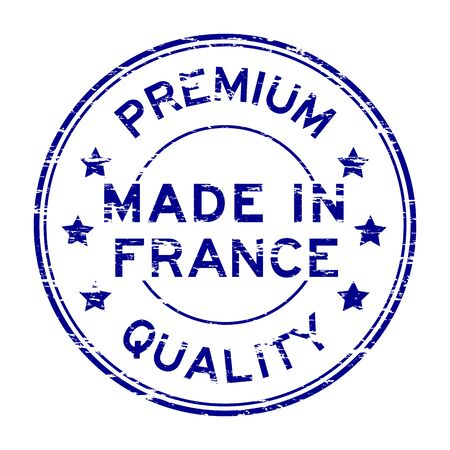 Blue grunge premium quality made in France stamp