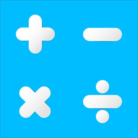 multiplicar: símbolo de la matemáticas: sumar, restar, multiplicar, dividir en corte de papel