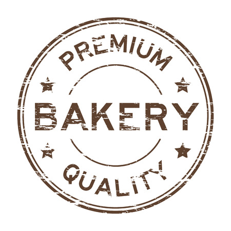 Brown grunge bakery premium quality stamp