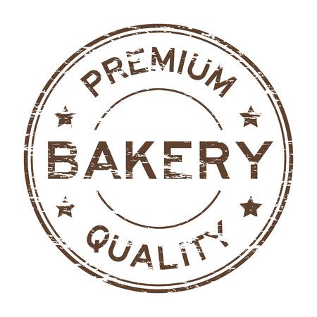 Brown grunge bakery premium quality stamp