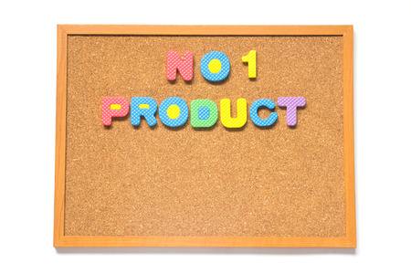 no1: Corkboard with wording no.1 product placed on white background Stock Photo