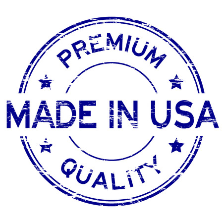 grunged: Blue grunged rubber stamp made in USA