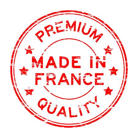 france stamp: Red grunge premium quality made in France stamp